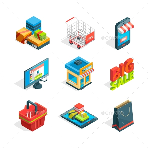 Isometric Icon Set of Online Shopping - Retail Commercial / Shopping
