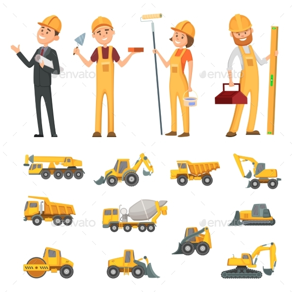 Male and Female Characters of Builders - People Characters