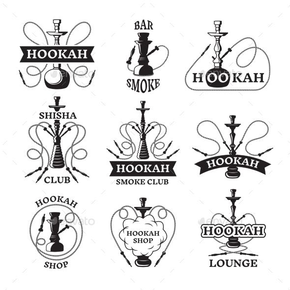 Illustrations and Labels Set of Different Hookahs - Decorative Symbols Decorative