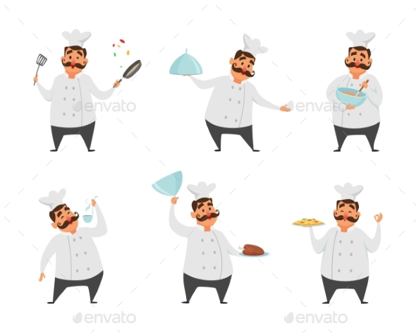 Characters of Chef in Action Poses - People Characters