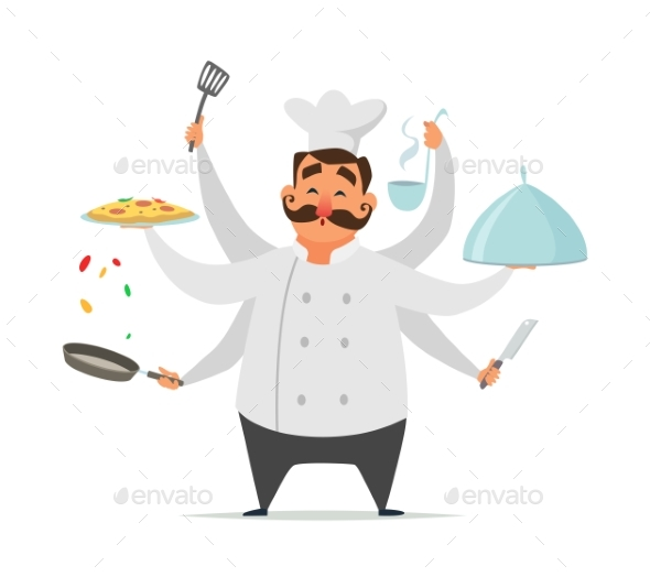 Multitasking Chef Cooking - People Characters