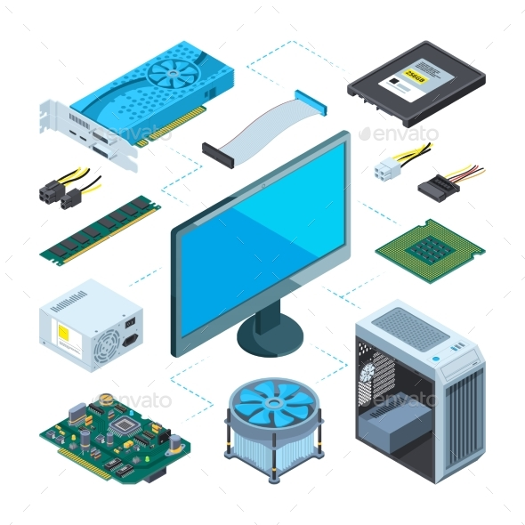 Isometric Illustrations of Computer Hardware - Computers Technology
