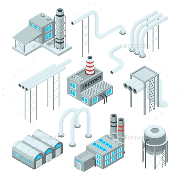 Factory Pipe and Set of Industrial Buildings - Buildings Objects