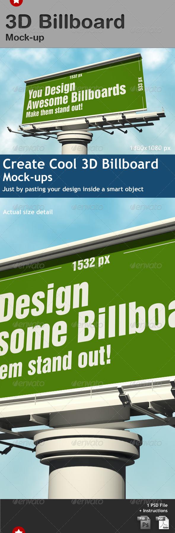 3d Billboard Mock-up - Signage Print