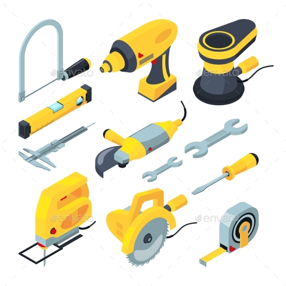 Isometric Tools for Construction - Man-made Objects Objects