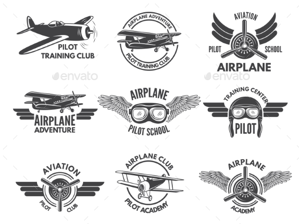 Labels Design Template with Pictures of Airplanes - Miscellaneous Vectors
