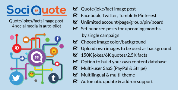 CodeCanyon SociQuote Quotes Jokes Facts Image Post in Auto-Pilot Facebook Twitter Tumblr Pinterest 21254404