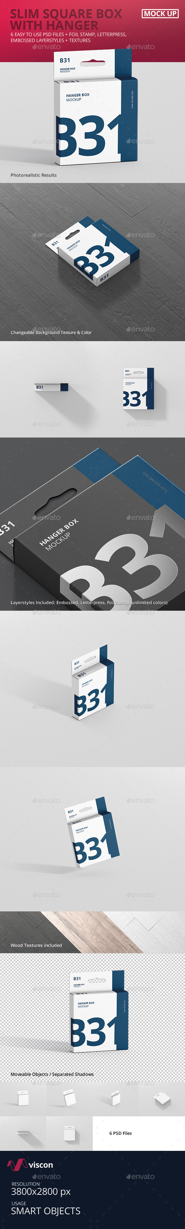 Box Mockup - Slim Square Size with Hanger - Miscellaneous Packaging