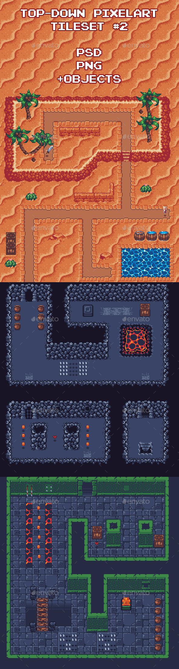 Top-Down Pixel Art Game Tileset #2 - Tilesets Game Assets