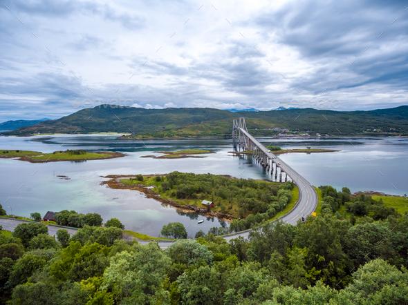 Tjeldsundbrua bridge in Norway - Stock Photo - Images