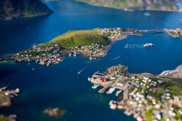Panorama Lofoten is an archipelago in the county of Nordland, No - Stock Photo - Images