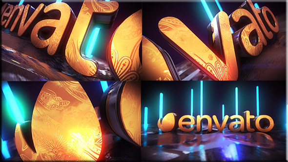 Videohive Golden Neon Logo Intro 21255299