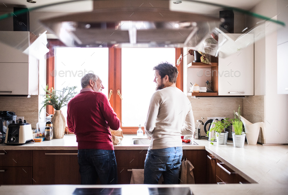 Hipster son with his senior father in the kitchen. - Stock Photo - Images