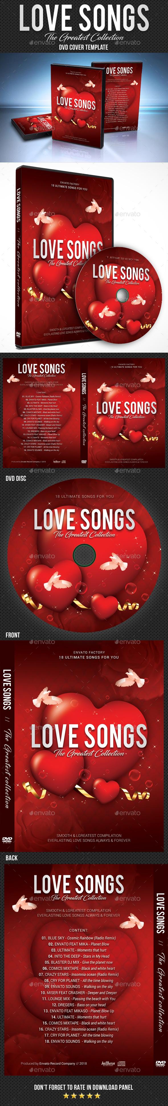Love Songs DVD Cover Template - CD & DVD Artwork Print Templates