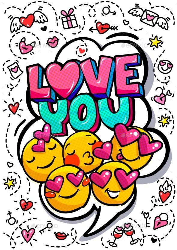 Love You Word Bubble. - Miscellaneous Vectors