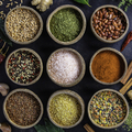 Set of spices on dark rustic background - PhotoDune Item for Sale
