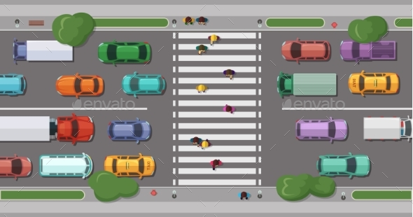 Vector Road with Cars in Front of Pedestrian Zone - Miscellaneous Vectors