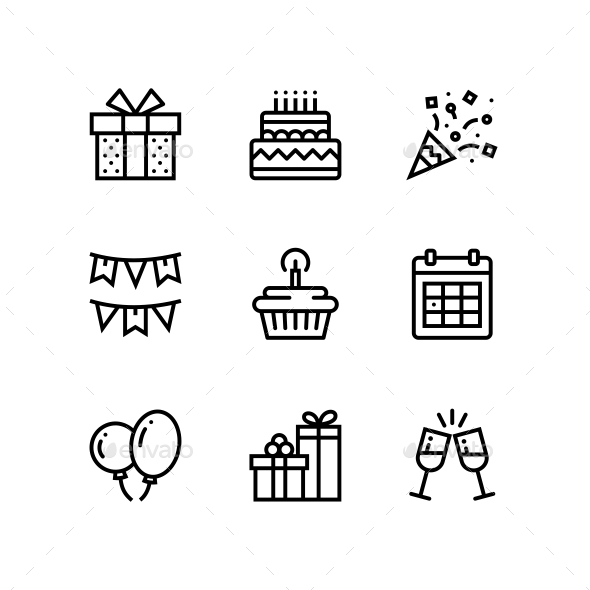 Birthday, Event, Celebration Icons for Web and Mobile Design Pack 1 - Icons