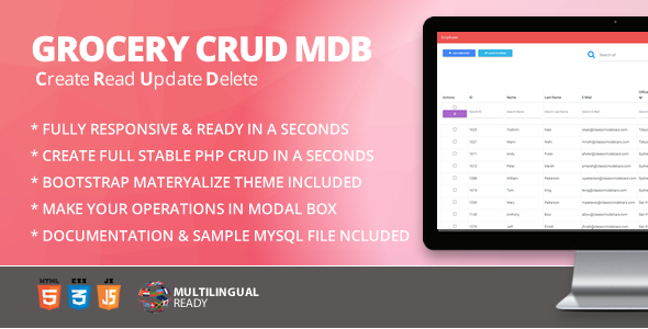 CodeCanyon Grocery CRUD & Materialize for Bootstrap Theme 21255547