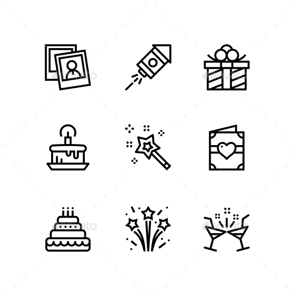 Birthday, Event, Celebration Icons for Web and Mobile Design Pack 2 - Icons