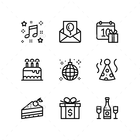 Birthday, Event, Celebration Icons for Web and Mobile Design Pack 3 - Icons