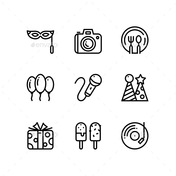 Birthday, Event, Celebration Icons for Web and Mobile Design Pack 4 - Icons