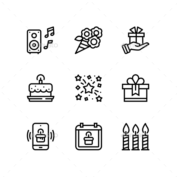 Birthday, Event, Celebration Icons for Web and Mobile Design Pack 5 - Icons