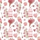 Seamless Patterns with Bird. Pink Watercolor Set - GraphicRiver Item for Sale