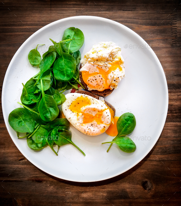 Delicious poached eggs - Stock Photo - Images