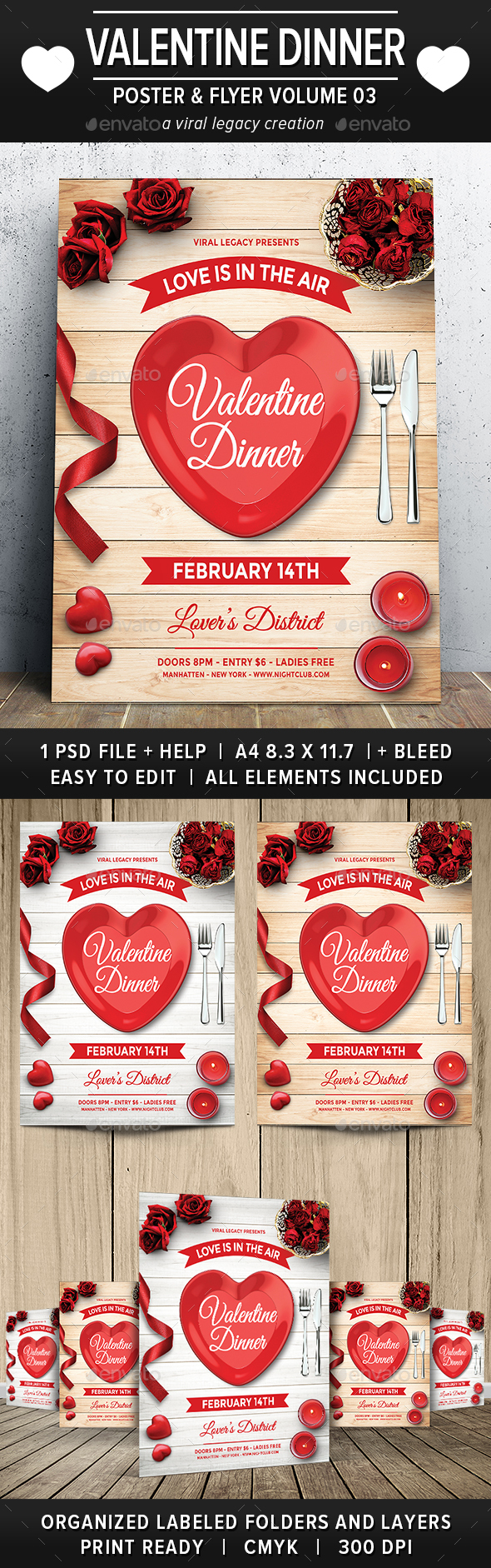 Valentine Dinner Poster / Flyer V03 - Events Flyers