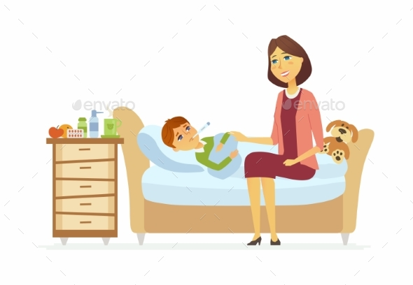 Mother with an Ill Boy - Cartoon People Characters - Health/Medicine Conceptual