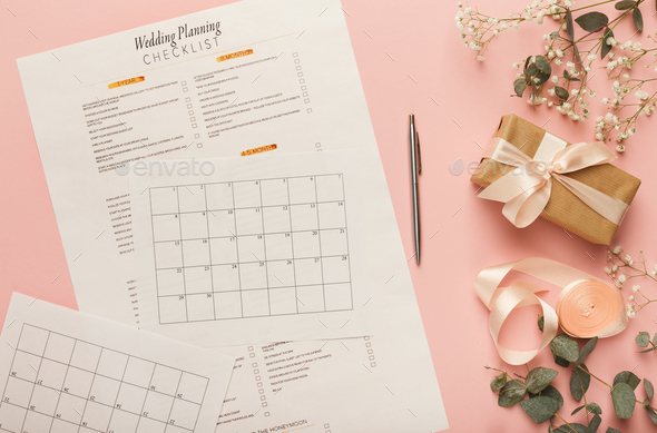 Bridal background with planner checklist - Stock Photo - Images