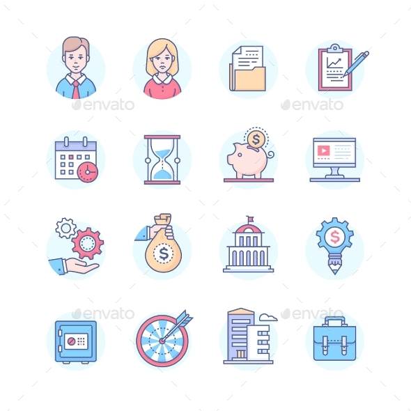 Business - Set of Line Design Style Icons - Concepts Business