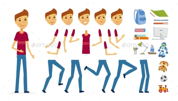 Schoolboy - Vector Cartoon People Character - People Characters