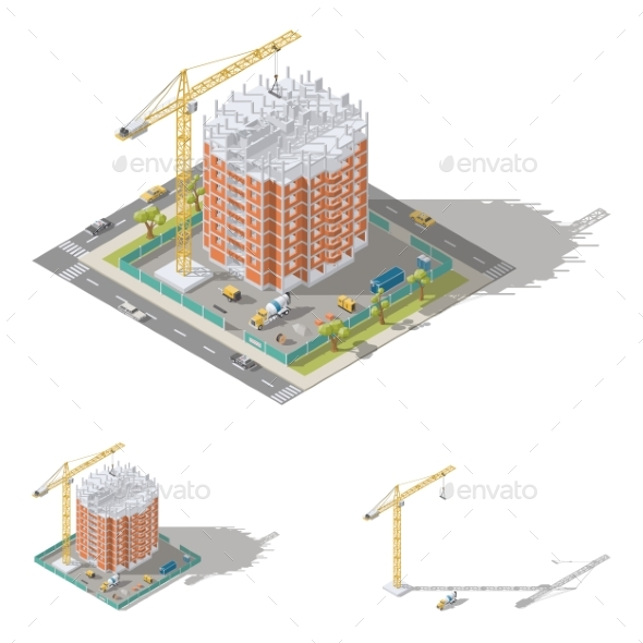 Building House Pouring a Reinforced Concrete - Buildings Objects