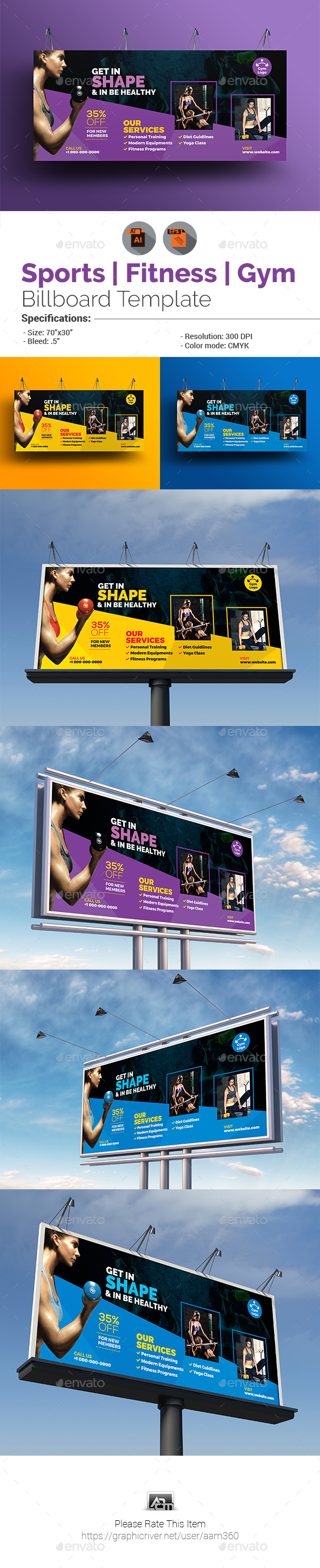 Sports | Fitness | Gym Billboard Template - Signage Print Templates