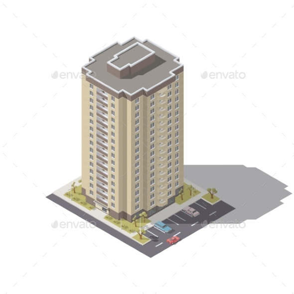 Residential Building with Parking Isometric - Buildings Objects