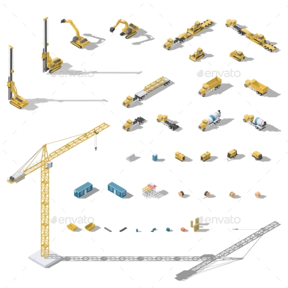 Construction Machinery and Equipment Lowpoly - Miscellaneous Vectors
