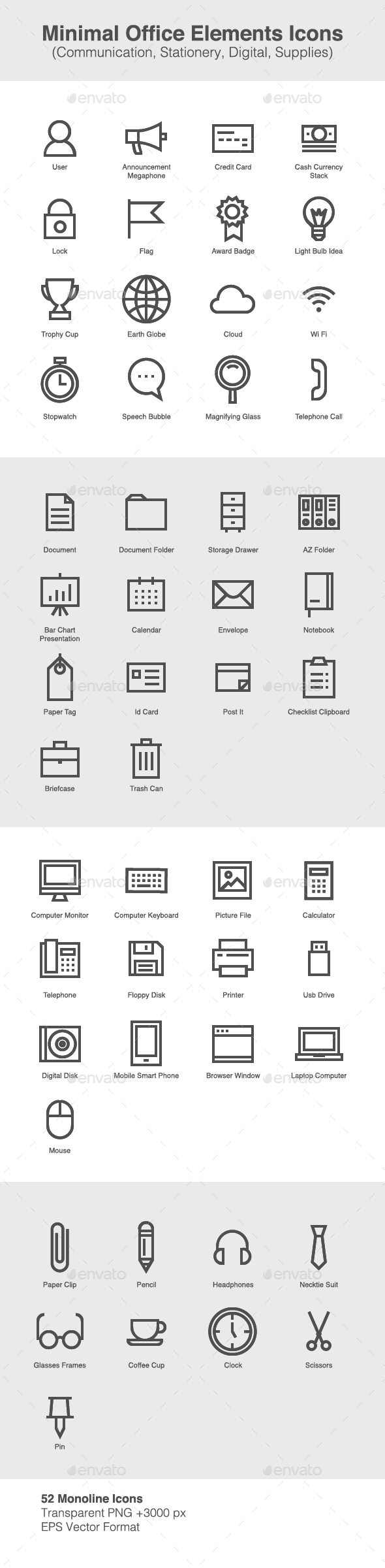 Minimal Office Elements Icons - Business Icons