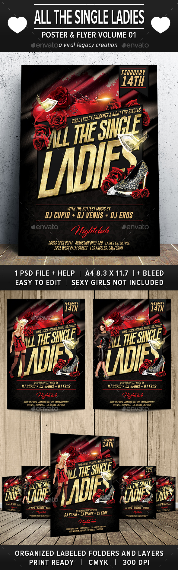 Valentine All The Single Ladies Poster / Flyer V01 - Flyers Print Templates