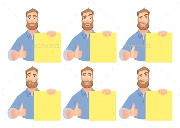 Man Holding Blank Banner Set - Miscellaneous Vectors