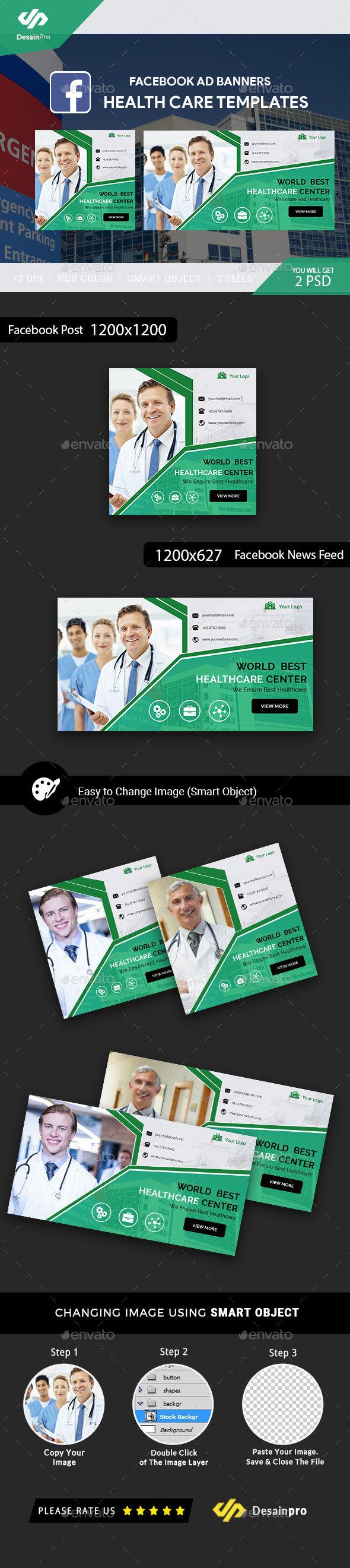 Health Care Facebook Ad Banners - AR - Social Media Web Elements