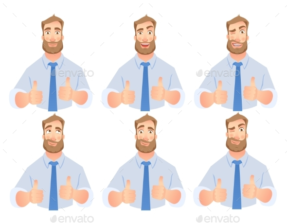 Businessman Show Thumb Up Set - People Characters