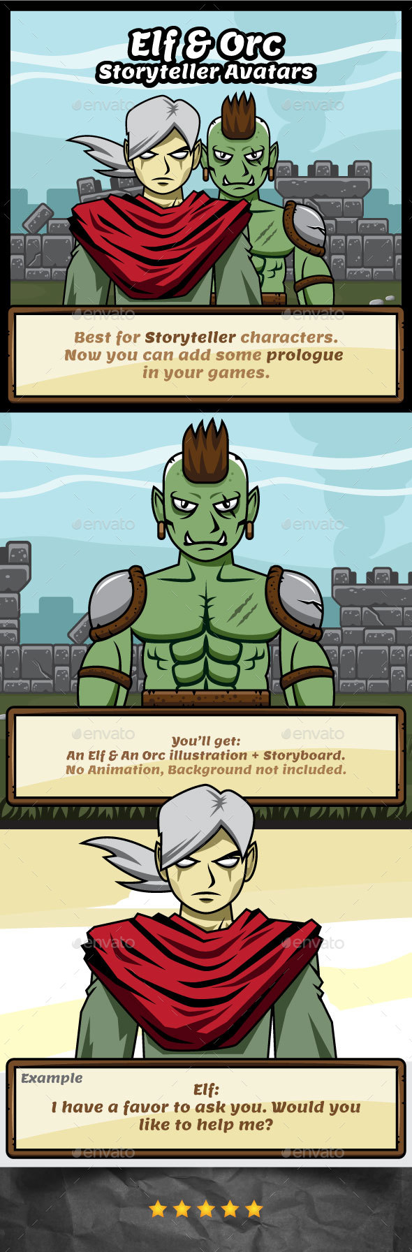 Elf and Orc The Storyteller Avatars for Game Prologue - Miscellaneous Game Assets