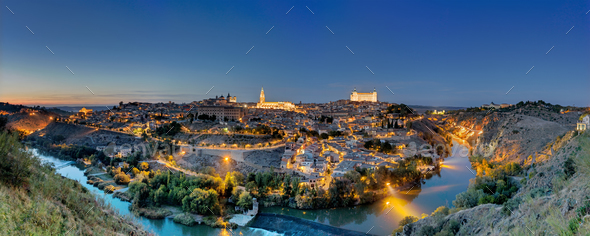Panorama of Toledo at dawn - Stock Photo - Images