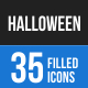 35 Halloween Filled Blue & Black Icons