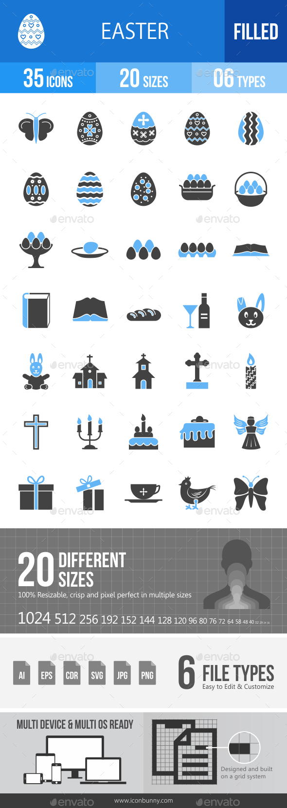 35 Easter Filled Blue & Black Icons - Icons