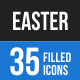 35 Easter Filled Blue & Black Icons