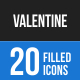 20 Valentine Filled Blue & Black Icons