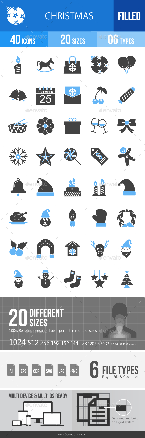 40 Christmas Filled Blue & Black Icons - Icons